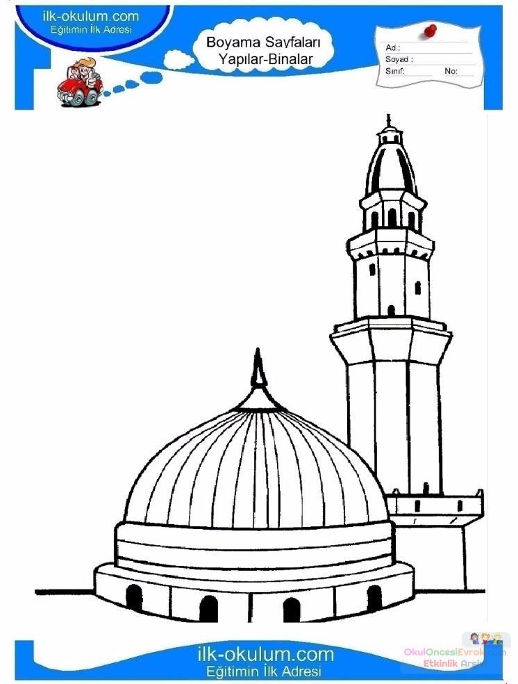 çocuklar Için Cami Yapılar Binalar Boyama Sayfası 4 Preschool Activity