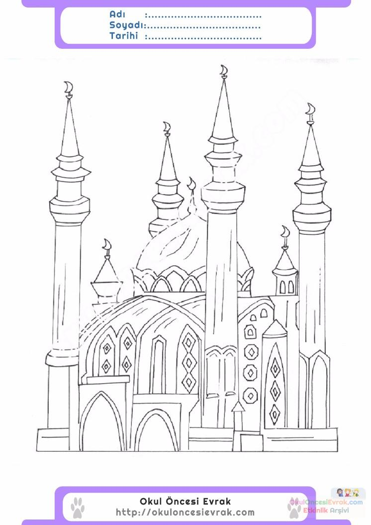çocuklar Için Cami Yapılar Binalar Boyama Sayfası 6 Preschool Activity