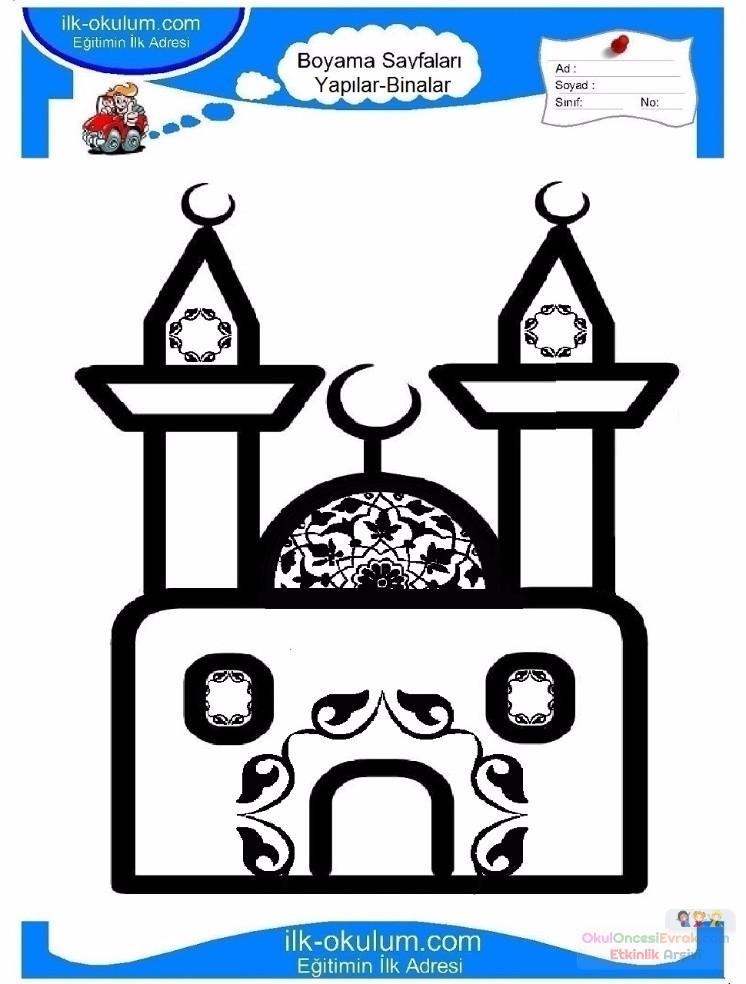 çocuklar Için Cami Yapılar Binalar Boyama Sayfası 7 Preschool Activity