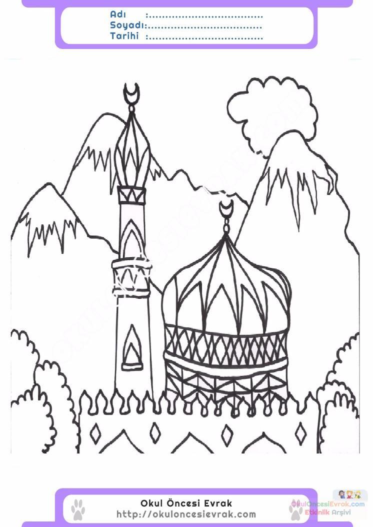 çocuklar Için Cami Yapılar Binalar Boyama Sayfası 8 Preschool Activity