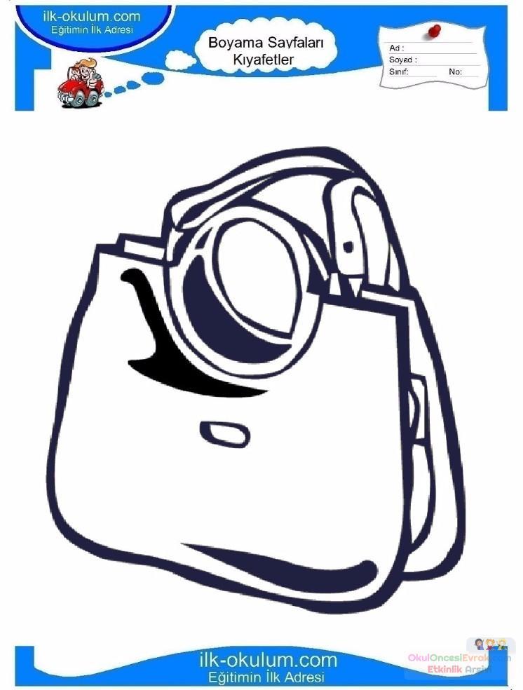 çocuklar Için çanta Kıyafet Giysi Boyama Sayfası 1 1 Preschool