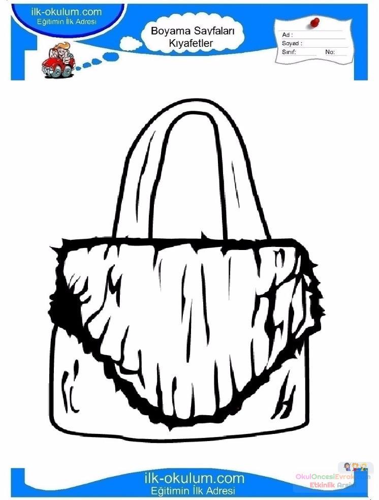 çocuklar Için çanta Kıyafet Giysi Boyama Sayfası 3 Preschool Activity