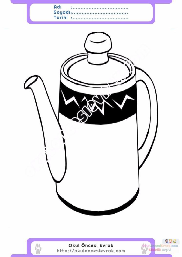 çocuklar Için çaydanlık Eşyalar Boyama Sayfası 1 Preschool Activity