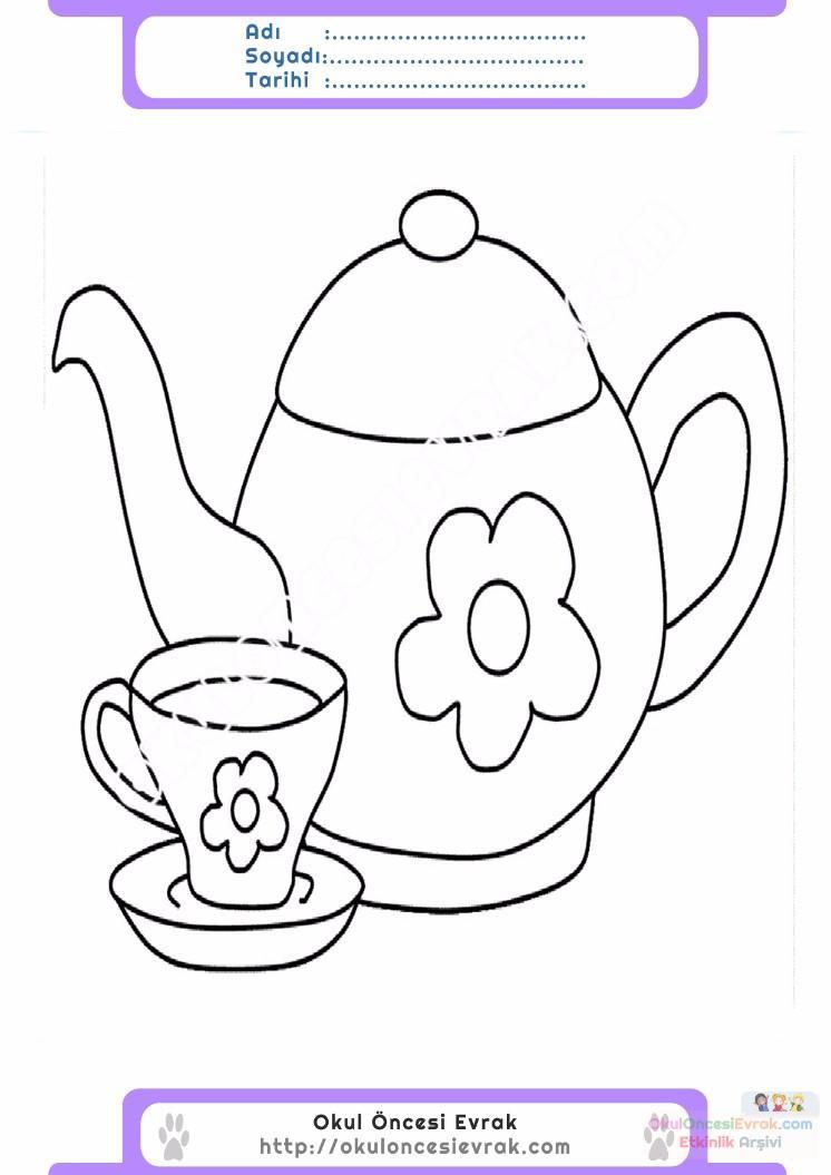çocuklar Için çaydanlık Eşyalar Boyama Sayfası 18 Preschool Activity