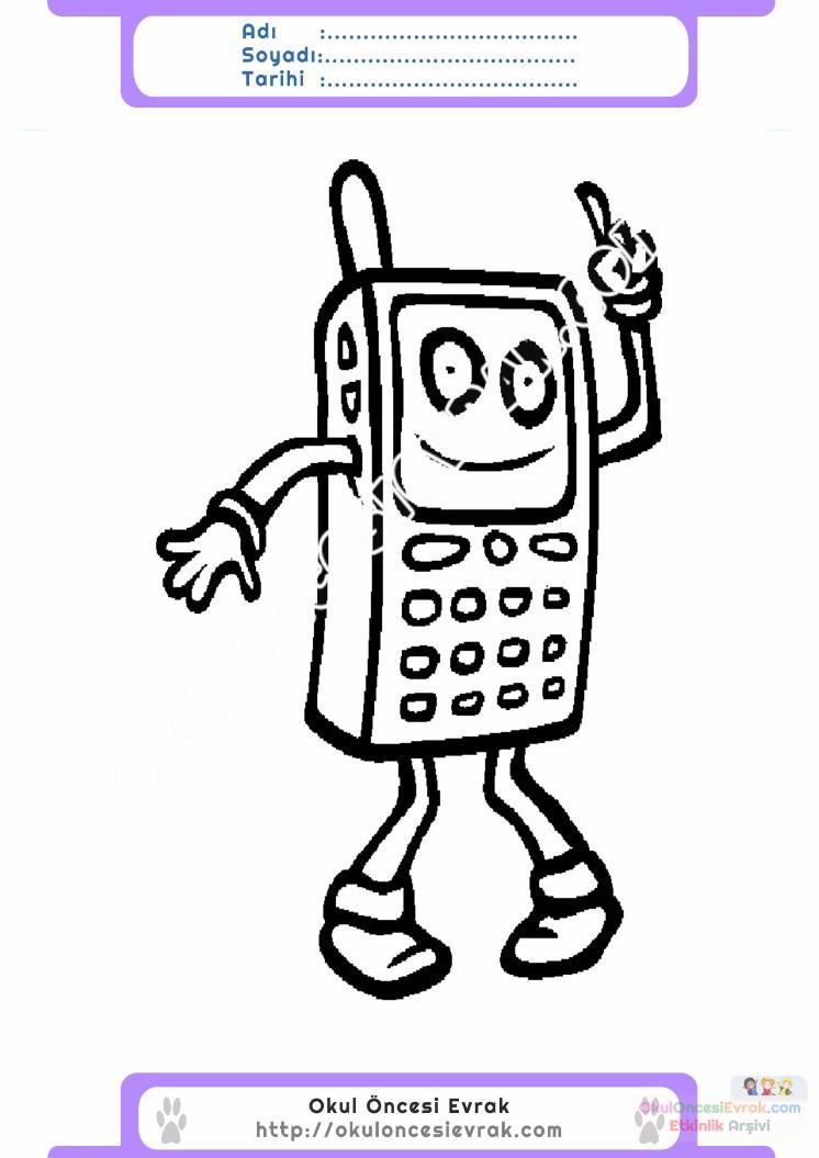 çocuklar Için Cep Telefonu Eşyalar Boyama Sayfası 18 Preschool