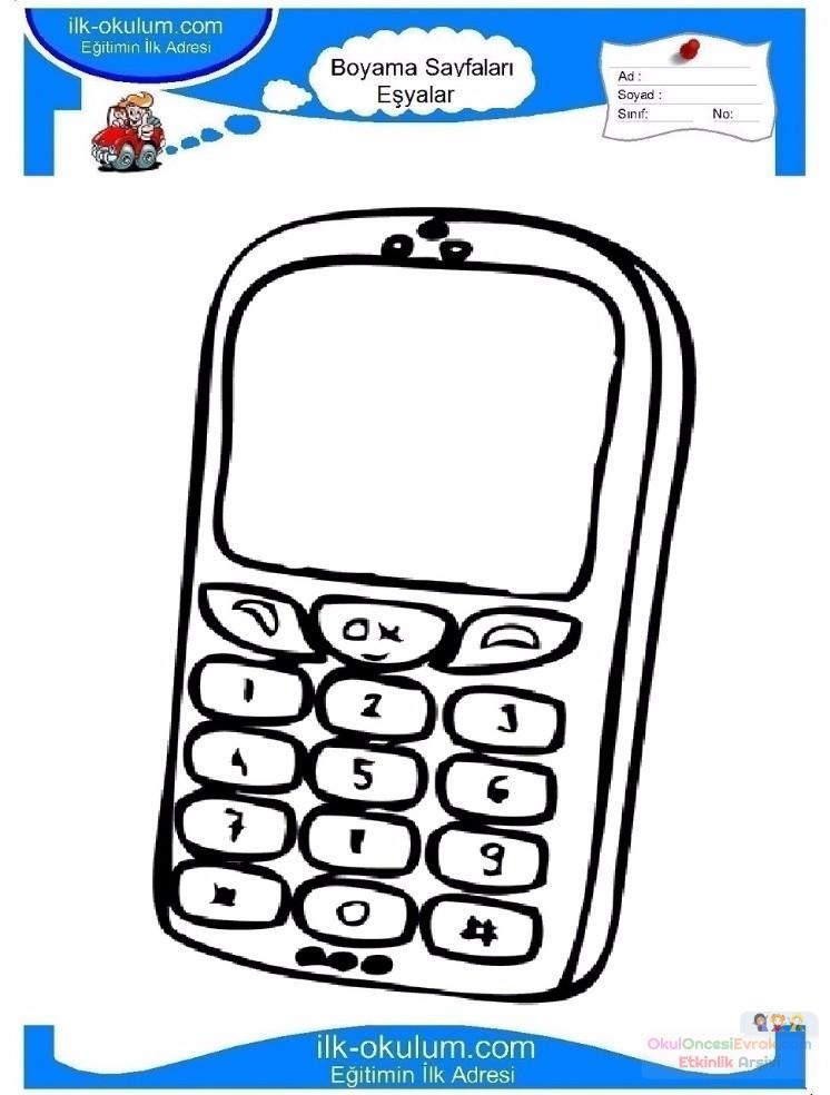 çocuklar Için Cep Telefonu Eşyalar Boyama Sayfası 22