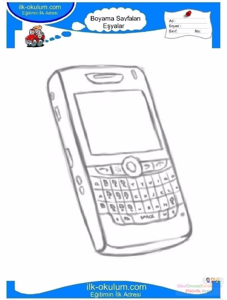 çocuklar Için Cep Telefonu Eşyalar Boyama Sayfası 25 Preschool