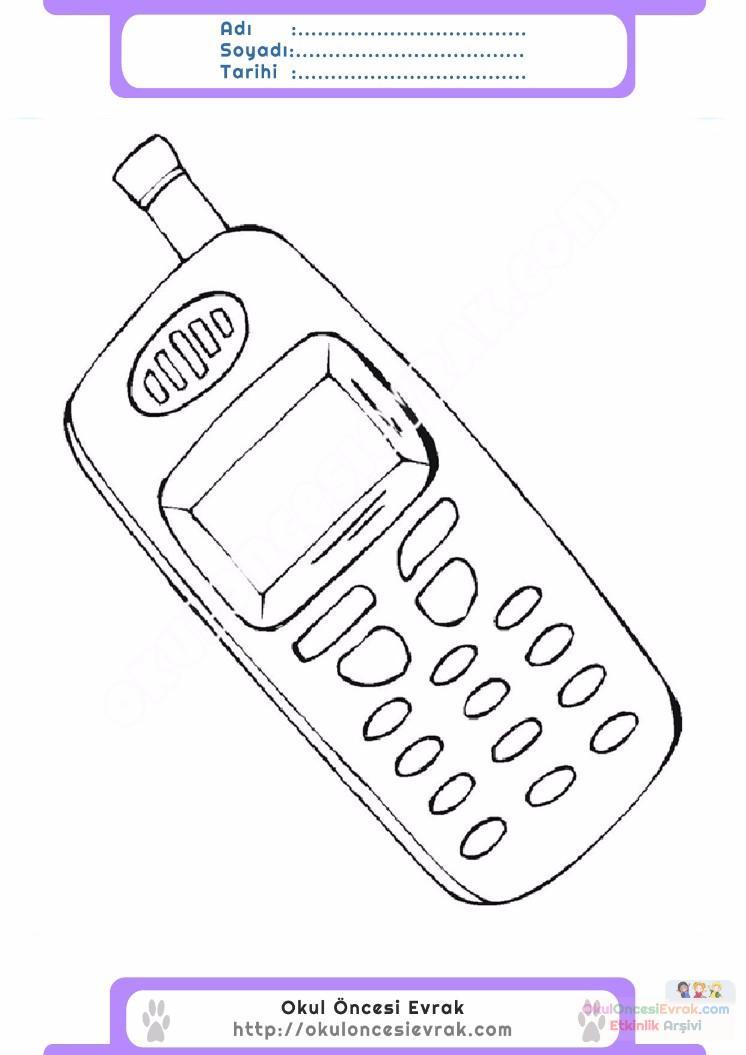 çocuklar Için Cep Telefonu Eşyalar Boyama Sayfası 4
