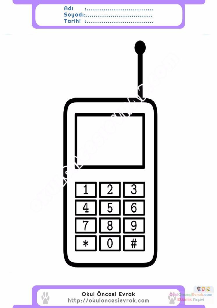çocuklar Için Cep Telefonu Eşyalar Boyama Sayfası 8 Preschool Activity