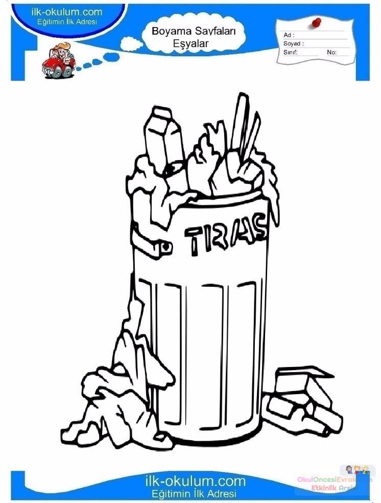 çocuklar Için çöp Kutusu Eşyalar Boyama Sayfası 10 Preschool Activity