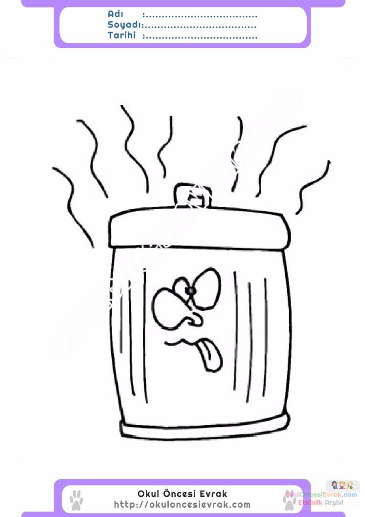 çocuklar Için çöp Kutusu Eşyalar Boyama Sayfası 2 Preschool Activity