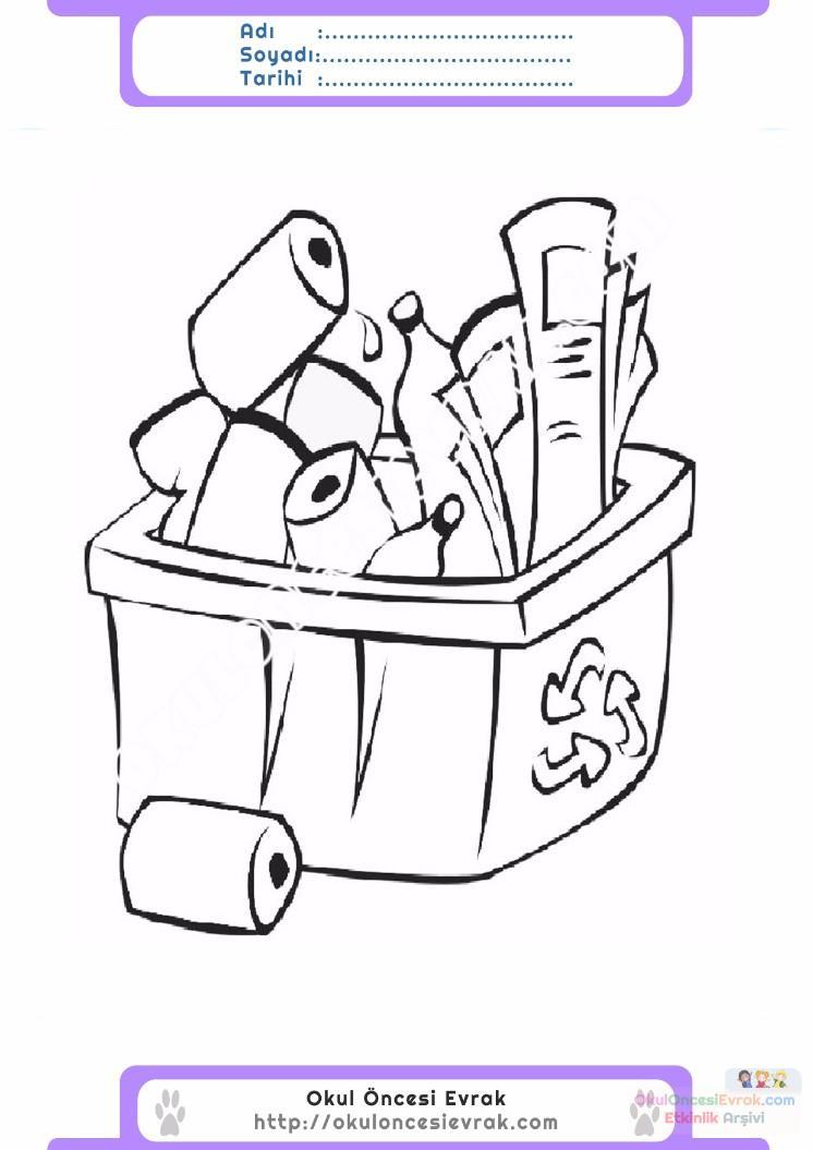 çocuklar Için çöp Kutusu Eşyalar Boyama Sayfası 3 Preschool Activity
