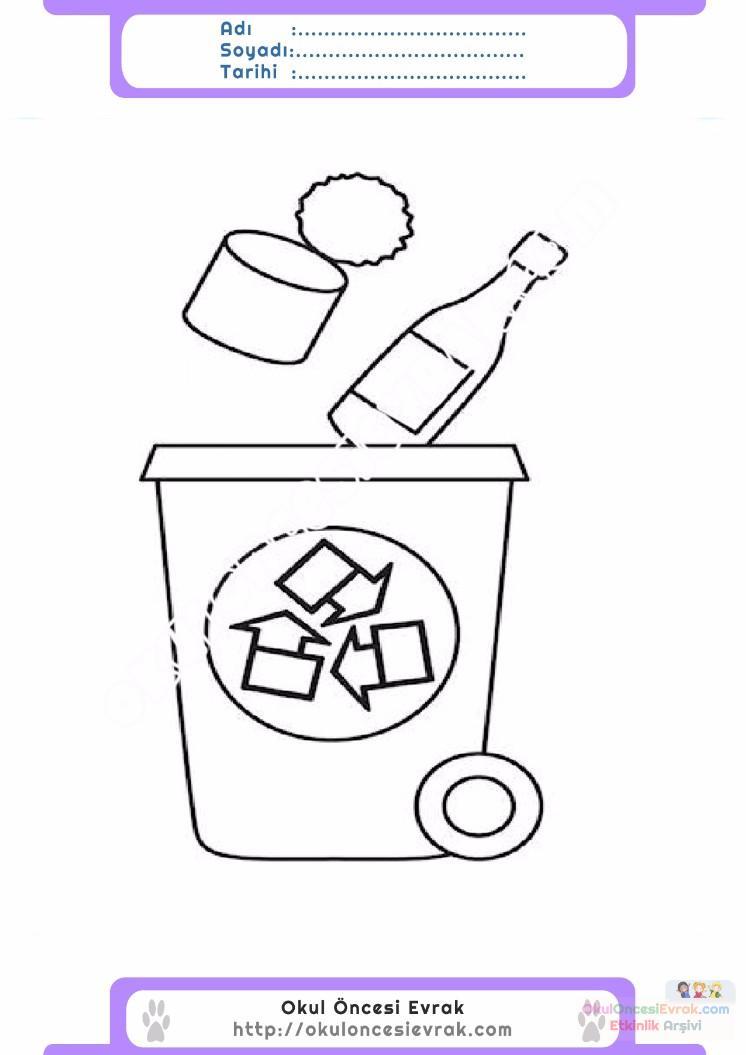 çocuklar Için çöp Kutusu Eşyalar Boyama Sayfası 7 Preschool Activity