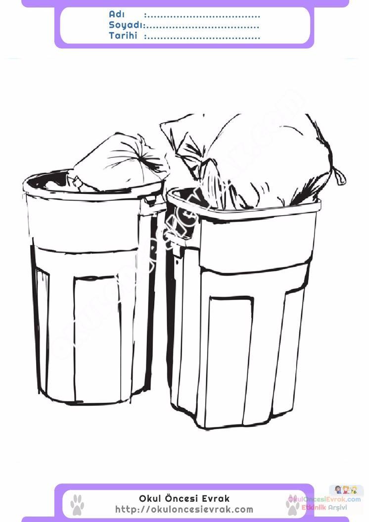çocuklar Için çöp Kutusu Eşyalar Boyama Sayfası 8 Preschool Activity