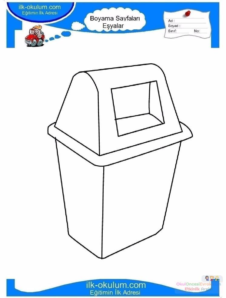 çocuklar Için çöp Kutusu Eşyalar Boyama Sayfası 9 Preschool Activity