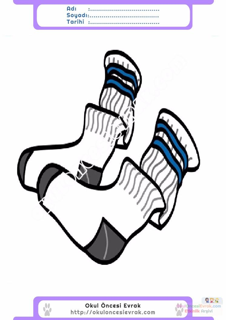 çocuklar Için çorap Kıyafet Giysi Boyama Sayfası 13 Preschool Activity