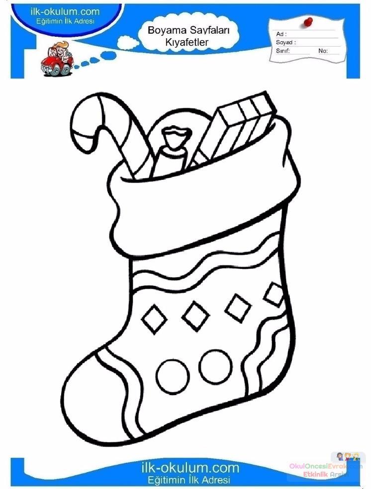 Cocuklar Icin Corap Kiyafet Giysi Boyama Sayfasi 16