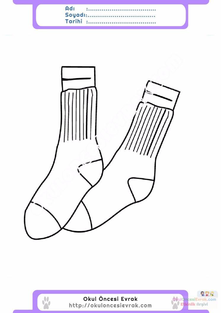 çocuklar Için çorap Kıyafet Giysi Boyama Sayfası 3 Preschool Activity