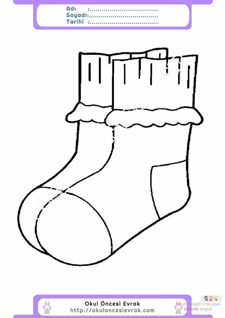 çocuklar Için çorap Kıyafet Giysi Boyama Sayfası 4 Preschool Activity