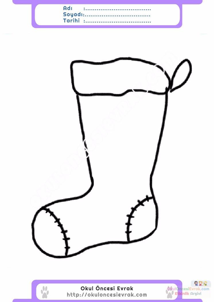 çocuklar Için çorap Kıyafet Giysi Boyama Sayfası 5 Preschool Activity