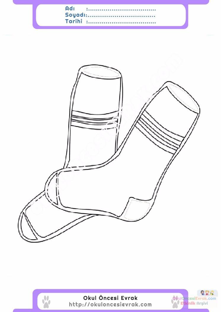 çocuklar Için çorap Kıyafet Giysi Boyama Sayfası 8 Preschool Activity