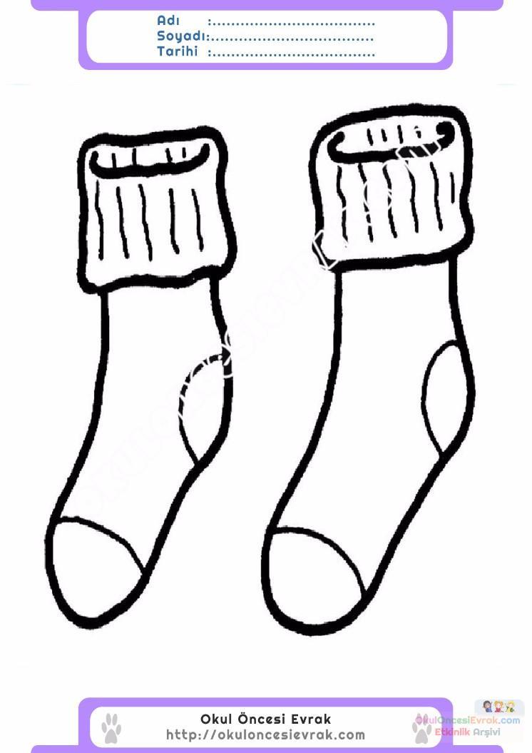 çocuklar Için çorap Kıyafet Giysi Boyama Sayfası 9 Preschool Activity