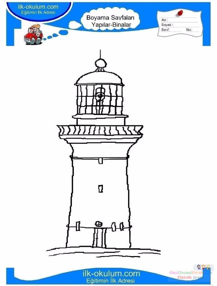Cocuklar Icin Deniz Feneri Yapilar Binalar Boyama Sayfasi 23