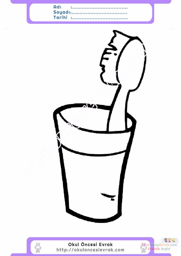 çocuklar Için Diş Fırçası Eşyalar Boyama Sayfası 11 Preschool Activity