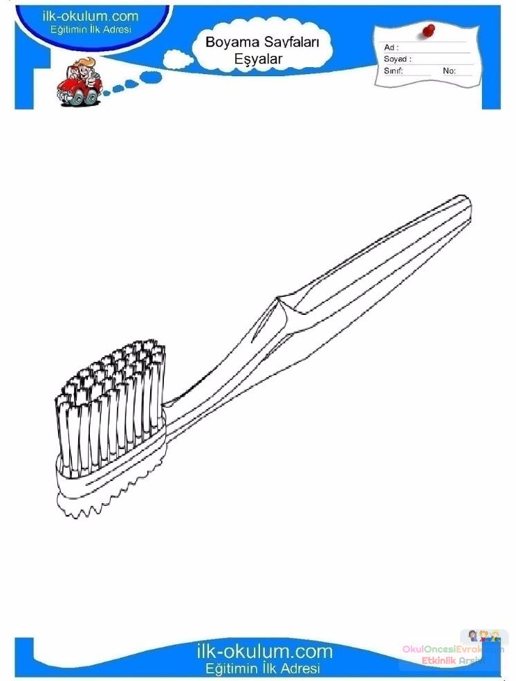 çocuklar Için Diş Fırçası Eşyalar Boyama Sayfası 13 Preschool Activity
