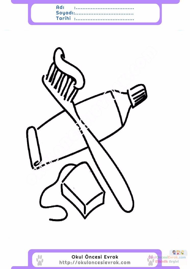 çocuklar Için Diş Fırçası Eşyalar Boyama Sayfası 2 Preschool Activity