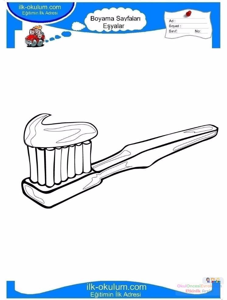 çocuklar Için Diş Fırçası Eşyalar Boyama Sayfası 7 1 Preschool