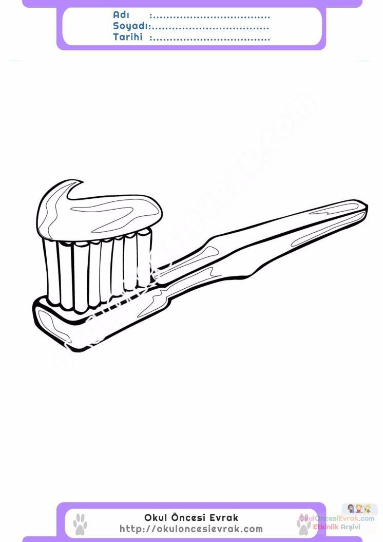 çocuklar Için Diş Fırçası Eşyalar Boyama Sayfası 7 Preschool Activity
