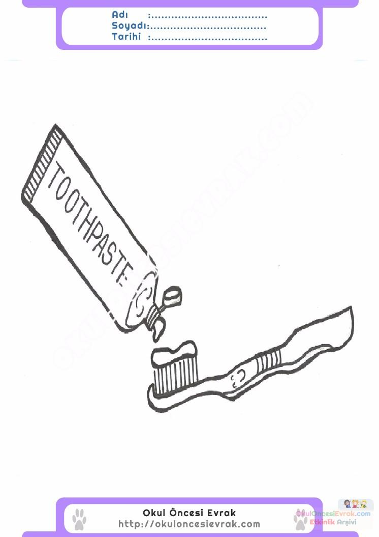 çocuklar Için Diş Fırçası Eşyalar Boyama Sayfası 8 Preschool Activity