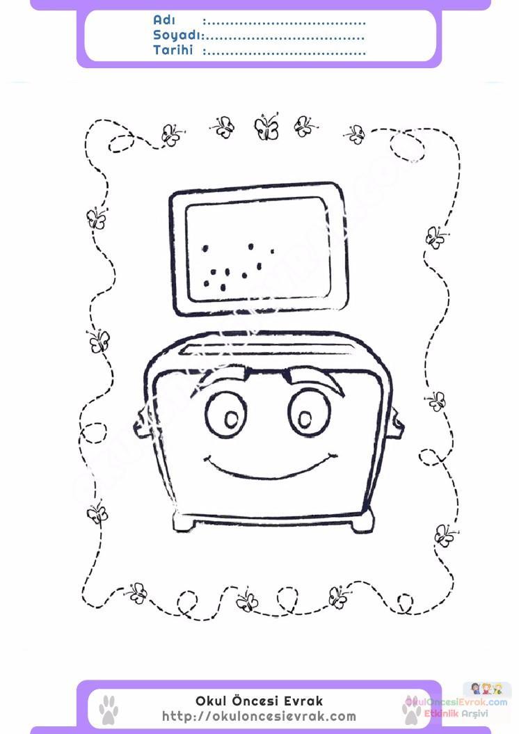 çocuklar Için Ekmek Kızartma Makinesi Eşyalar Boyama Sayfası 11