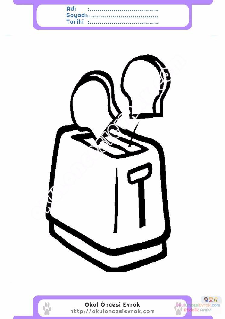 çocuklar Için Ekmek Kızartma Makinesi Eşyalar Boyama Sayfası 2