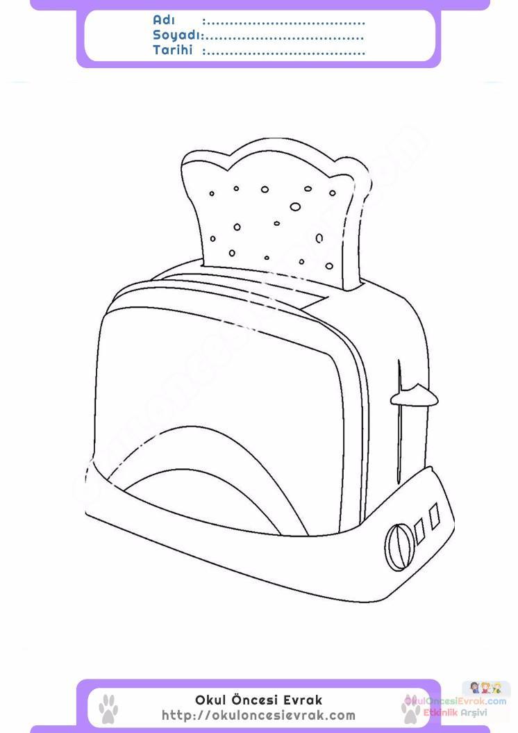 çocuklar Için Ekmek Kızartma Makinesi Eşyalar Boyama Sayfası 4