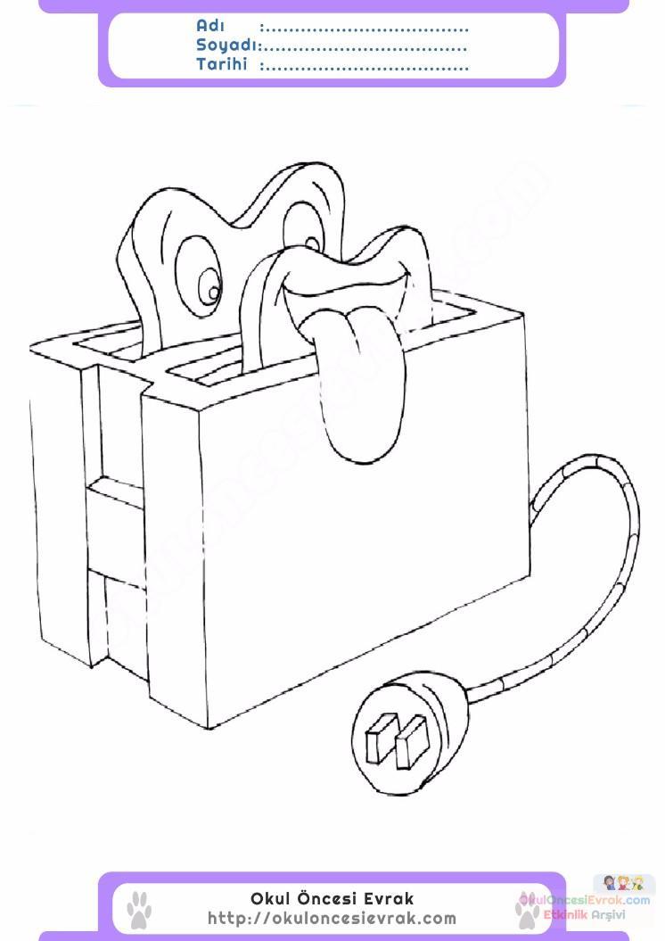çocuklar Için Ekmek Kızartma Makinesi Eşyalar Boyama Sayfası 5