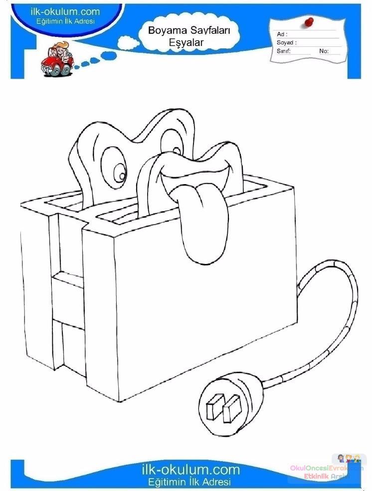 Cocuklar Icin Ekmek Kizartma Makinesi Esyalar Boyama Sayfasi 5