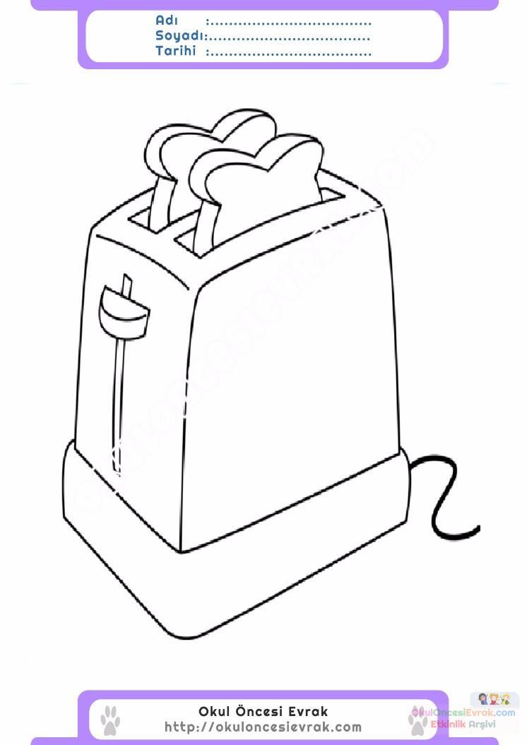 çocuklar Için Ekmek Kızartma Makinesi Eşyalar Boyama Sayfası 6