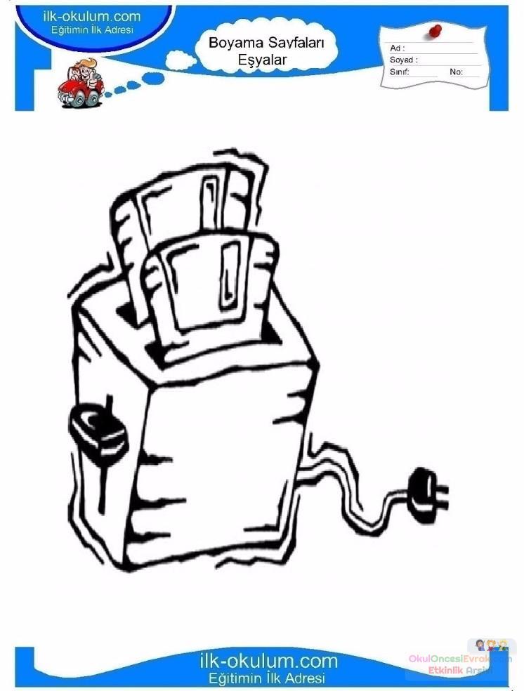çocuklar Için Ekmek Kızartma Makinesi Eşyalar Boyama Sayfası 7