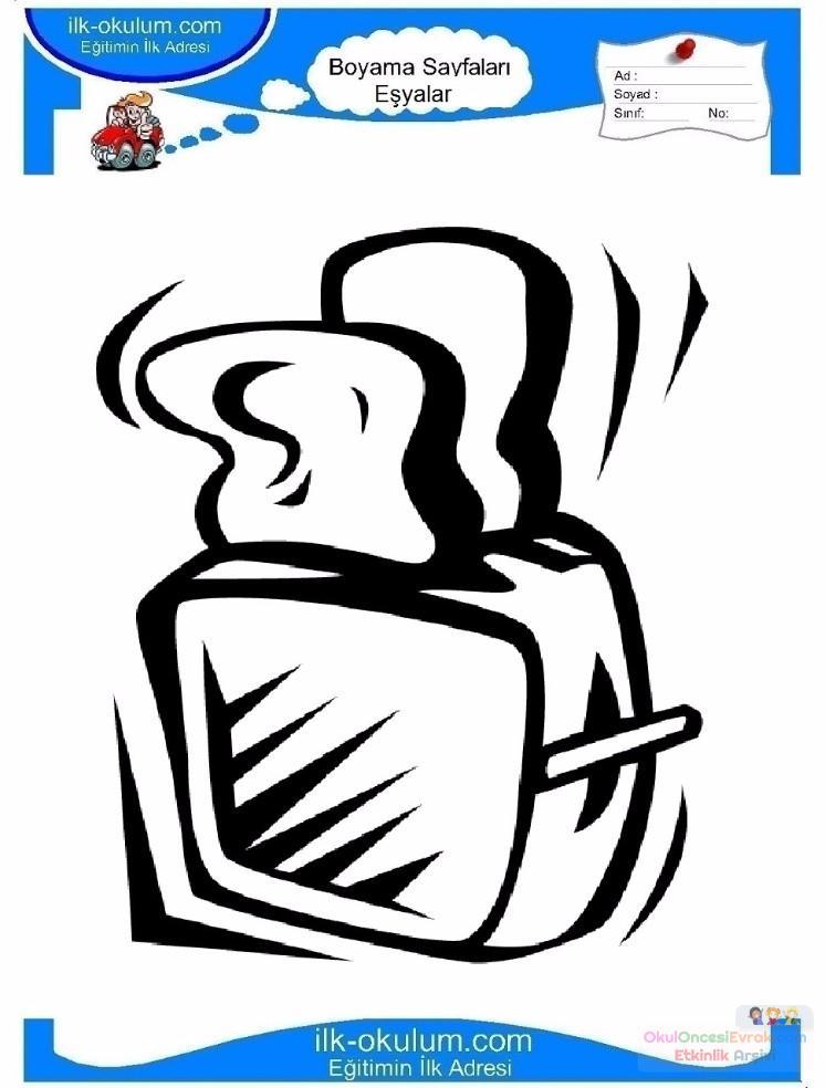 çocuklar Için Ekmek Kızartma Makinesi Eşyalar Boyama Sayfası 9