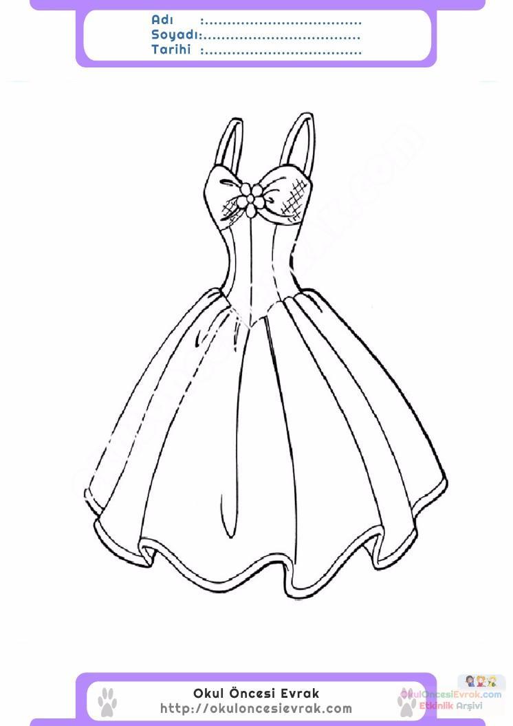 çocuklar Için Elbise Kıyafet Giysi Boyama Sayfası 1 Preschool Activity