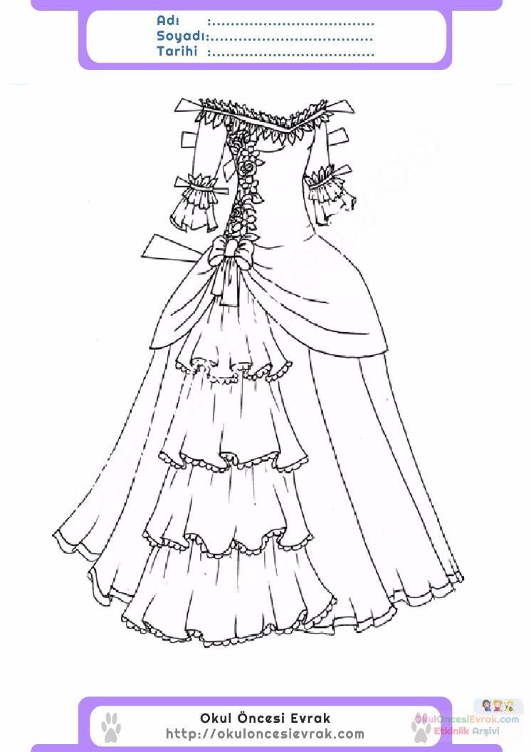 çocuklar Için Elbise Kıyafet Giysi Boyama Sayfası 19 Preschool