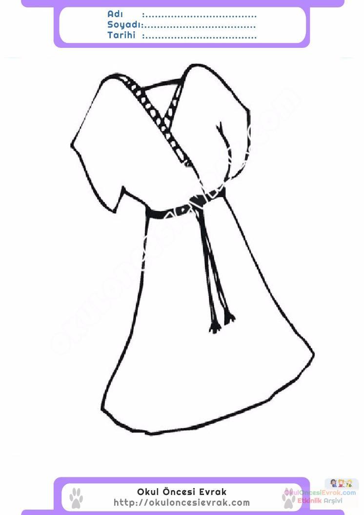 çocuklar Için Elbise Kıyafet Giysi Boyama Sayfası 22 1 Preschool