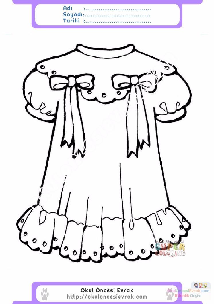 çocuklar Için Elbise Kıyafet Giysi Boyama Sayfası 6 Preschool Activity