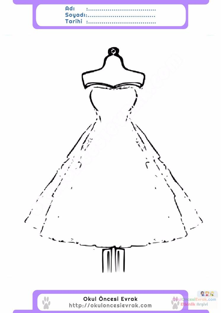 çocuklar Için Elbise Kıyafet Giysi Boyama Sayfası 9 1 Preschool
