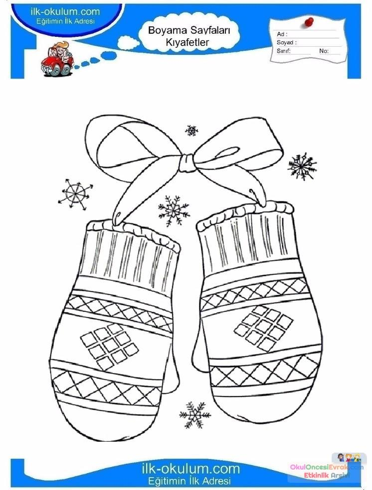 çocuklar Için Eldiven Kıyafet Giysi Boyama Sayfası 10 Preschool