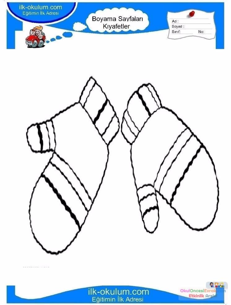 Cocuklar Icin Eldiven Kiyafet Giysi Boyama Sayfasi 20 Preschool