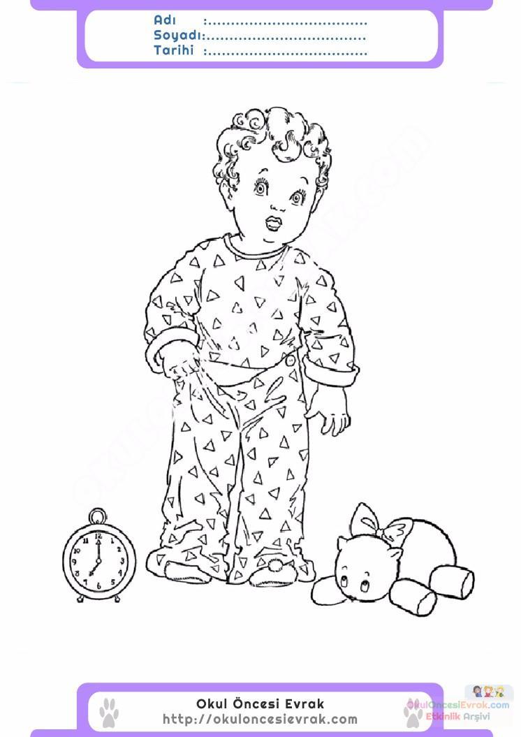 çocuklar Için Eşofman Pijama Kıyafet Giysi Boyama Sayfası 10