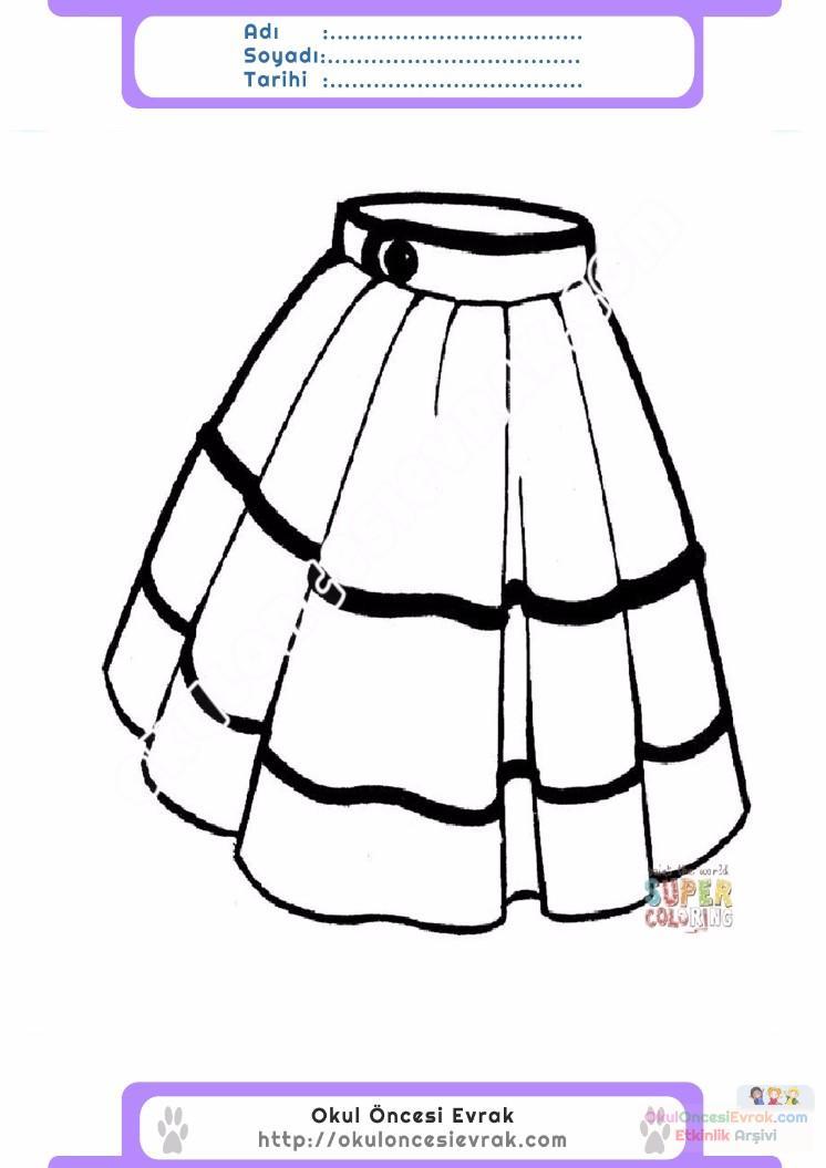 çocuklar Için Etek Kıyafet Giysi Boyama Sayfası 10 Preschool Activity